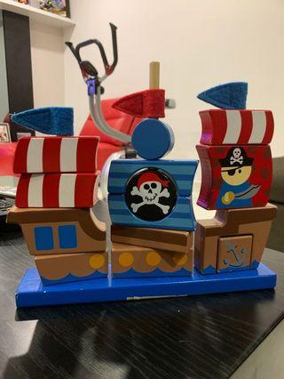 Wooden pirate ship stacker puzzle