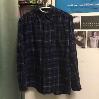 UNIQLO 法蘭絨藍色格子襯衫