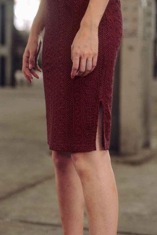 Devon Crochet Top and Skirt in Wine