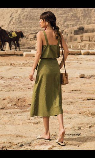 SAHURE MIDI SKIRT IN OLIVE