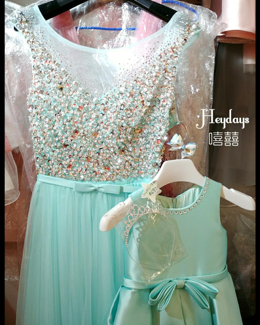 花女童裝禮服挺身超蓬 公主裙 表演服 送閃石頭箍 Flowergirl Girls gown party dress with bow free bling bling hair acc band