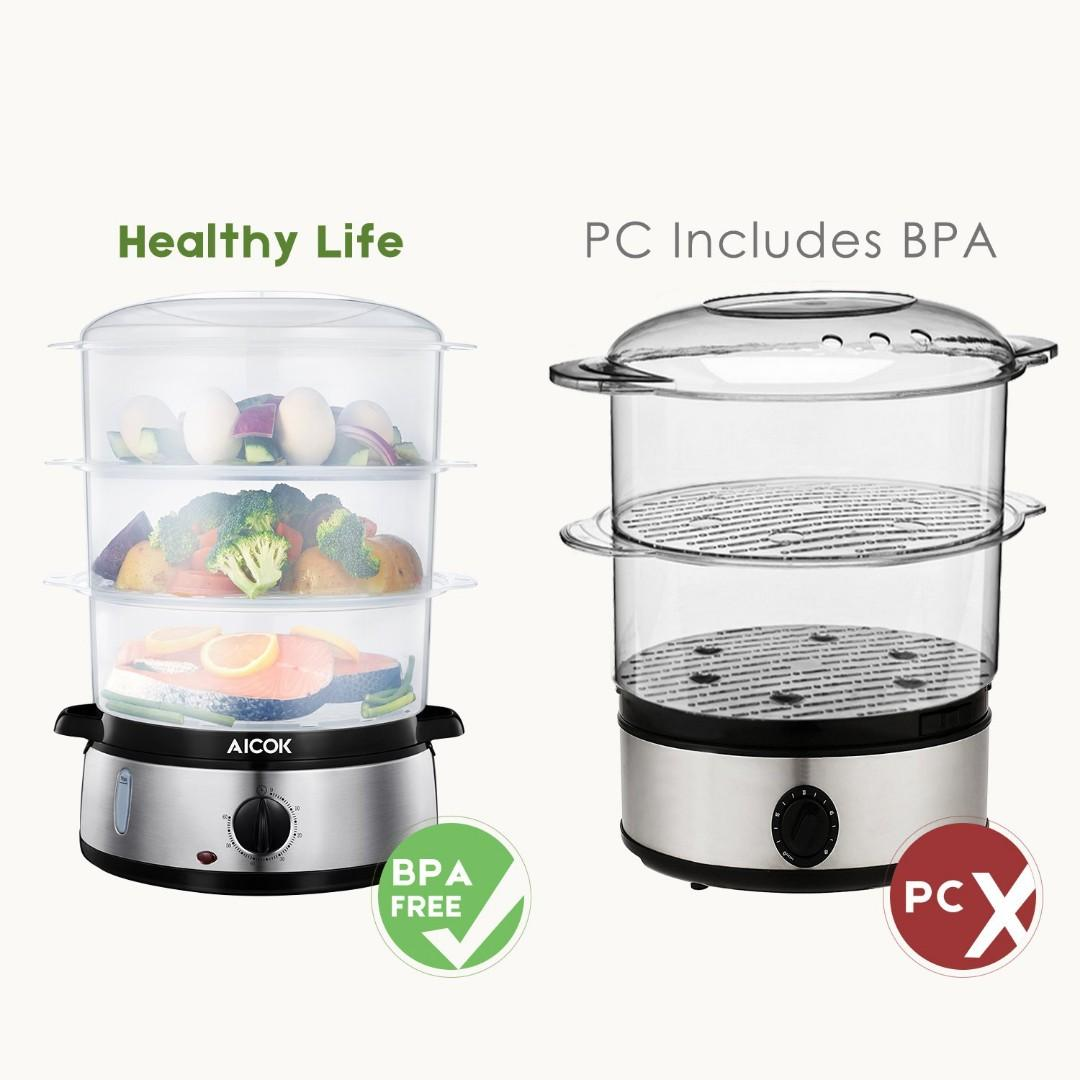 Aicok Food Steamer, 9.5 Quart Vegetable Steamer with BPA-Free 3 Tier Stackable Baskets and Auto Shutoff
