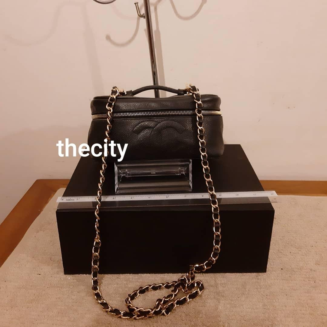 AUTHENTIC CHANEL BLACK CAVIAR LEATHER VANITY BAG- BIG CC LOGO DESIGN - HOLOGRAM STICKER INTACT- GOLD HARDWARE - COMES WITH EXTRA LONG CHAIN STRAP FOR CROSSBODY SLING - (CHANEL VANITY BAGS NOW RETAIL OVER RM 15,000+)