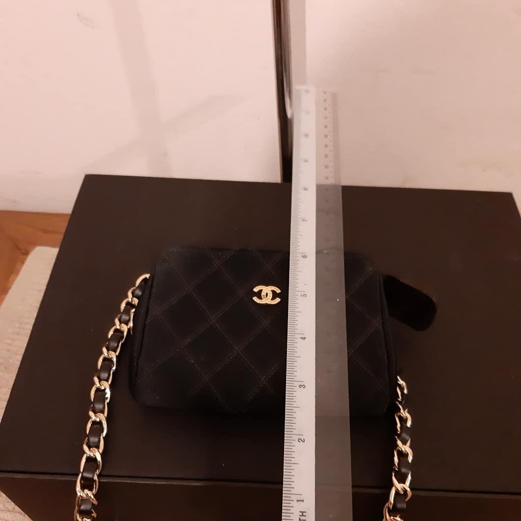 AUTHENTIC CHANEL QUILTED CC LOGO VANITY POUCH - CLEAN INTERIOR, NEWLY RELINED AT BAG SPA - BLACK SILK NYLON CANVAS , GOLD HARDWARE - CRYSTAL CC LOGO INTACT - COMES WITH EXTRA HOOKS & LONG CHAIN STRAP FOR CROSSBODY SLING