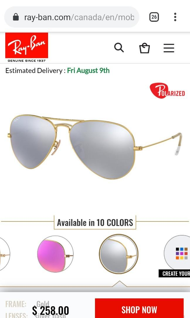 Authentic Ray Ban aviator sunglasses RB 3025