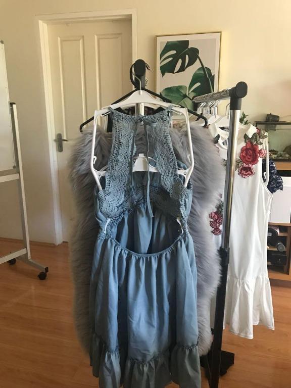 (Blue) Bali vacation wind straps beach skirt backless lace beautiful strap dress