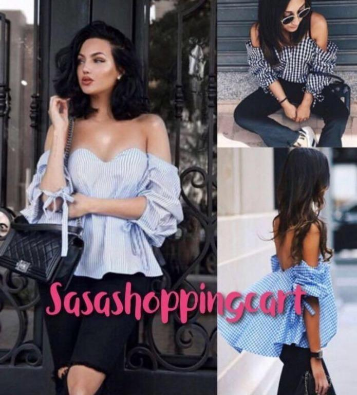 (Blue/ Pink) Sexy strapless word fairy fairy palace retro style shirt bow back strap wrapped chest radiator shirt