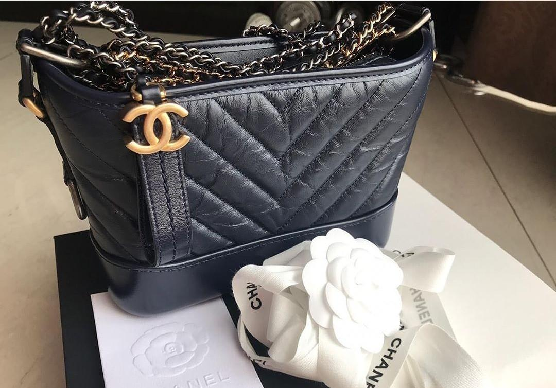 BNIB chanel gabrielle small chevron navy GHW #28 full set rec juli 2019