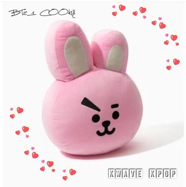 BT21 Official COOKY {Pink Rabbit} Cushion 30CM + Original Dust Bag