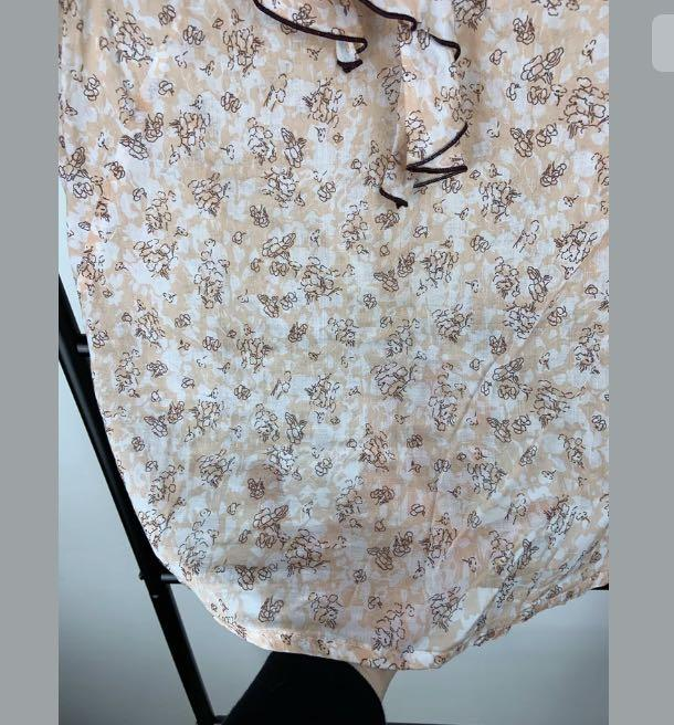 Cue 8 orange floral tank top shirt blouse vintage style frill semi sheer