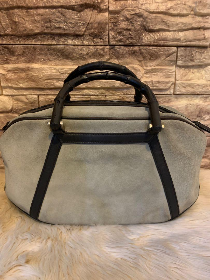 Gucci bamboo series authentic suede mix leather 32 x 17 x 10 cm cantik elegan