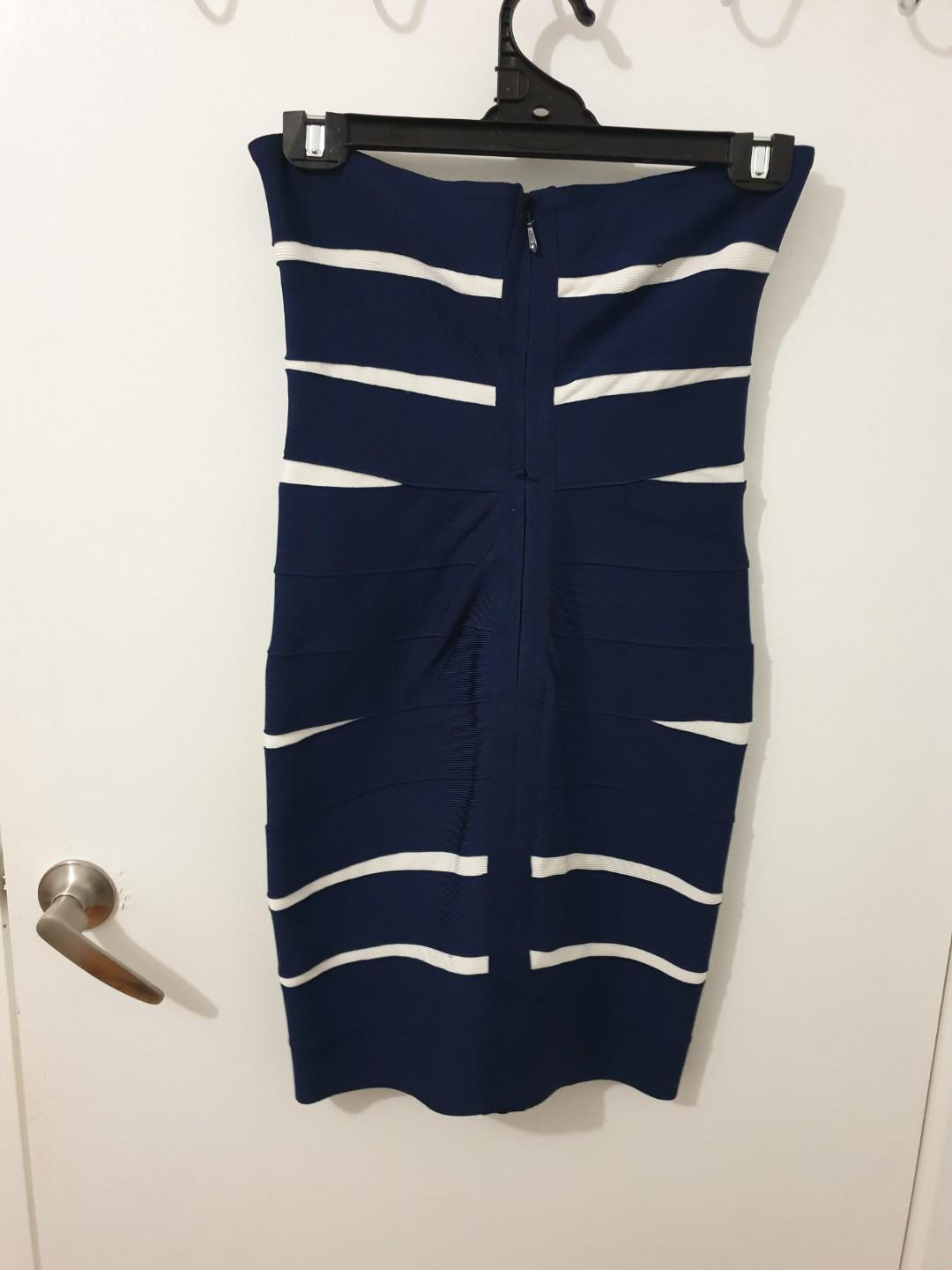 Herver Leger Navy and white strapless dress size L