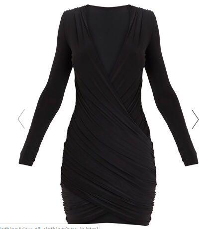 Pretty Little Thing Black Meeah Ruched Bodycon Dress BRAND NEW