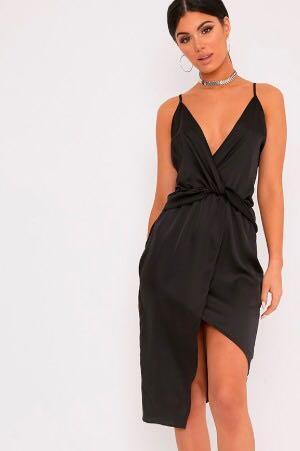 Pretty Little Thing Kala Black Satin Twist Front Midi Dress