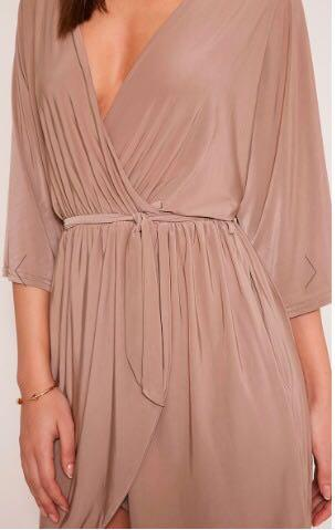 Pretty Little Thing Margie Taupe Wrap Front Kimono Sleeve Mini Dress