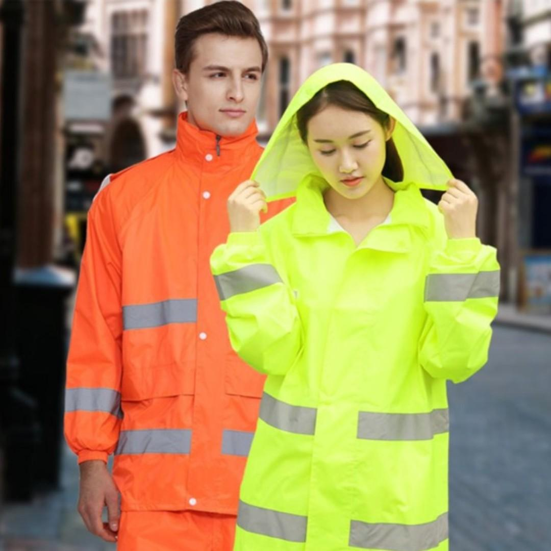 Ready Stocks - Neon / Bright Orange Raincoat Set
