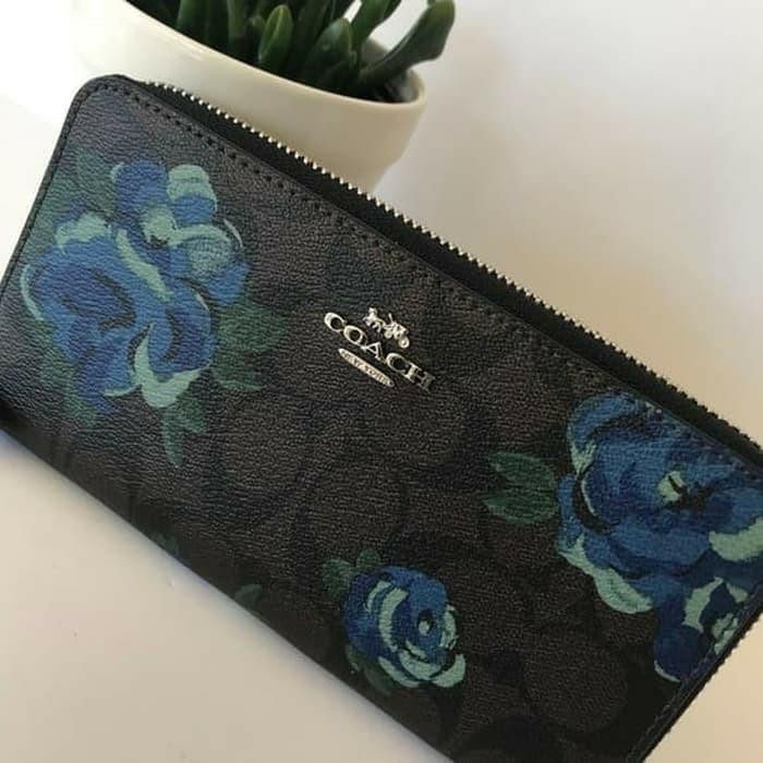SALE Coach accordion zip Wallet signature floral authentic original #joinagustus