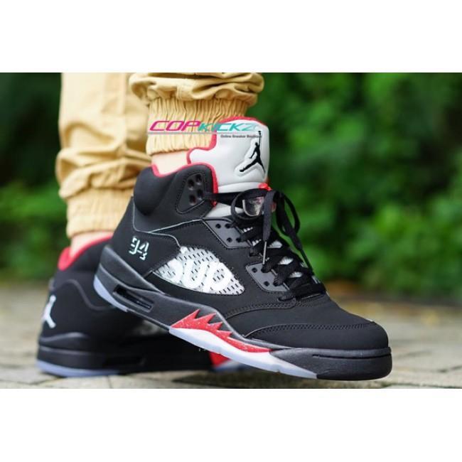 "new concept ed189 e0913 Supreme x Air Jordan 5 ""Black"" SUP 824371-001 nike aj5 ..."