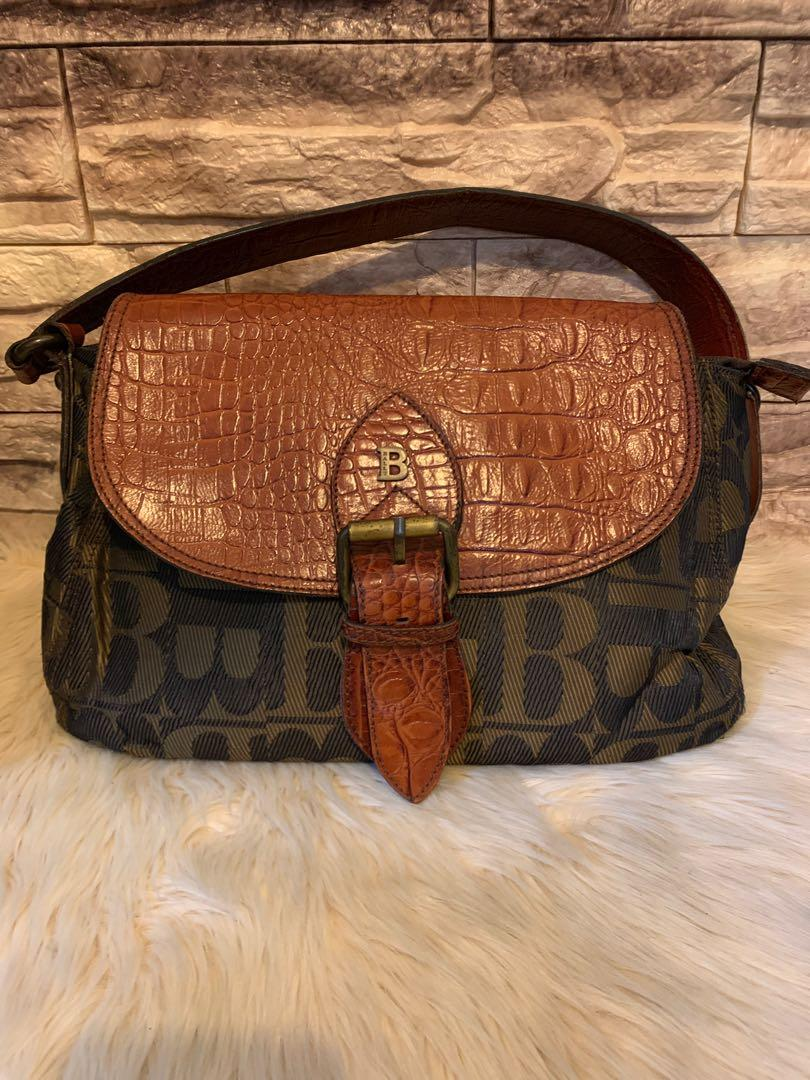 Tas Bally vintage unik croco skin mix kanvas antik authentic size 30 cm shoulder