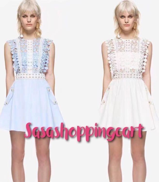 (White) Embroidered lace stitching lace sleeveless dress