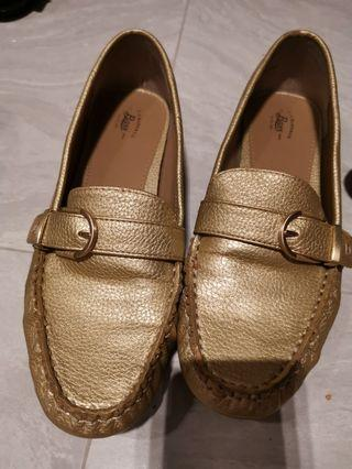Bass golden loafers