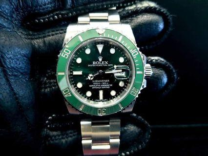 PREOWNED RO LEX SUBMARINER, Green HULK, 116610 LV, Oystersteel, 40mm, Alphanumeric Series, Year 2014 Mens Watch