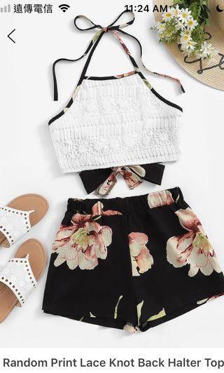 綁帶花卉套裝洋裝