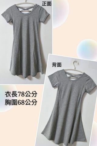 全新灰色修身長版衣