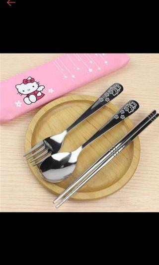 🌟BNIB Hello Kitty Stainless Steel Dinnerware Set🌟🌴Eco Friendly Gifts🐳