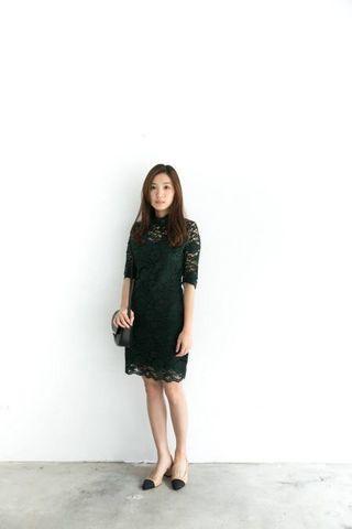 Reishop孔雀綠蕾絲洋裝 正韓