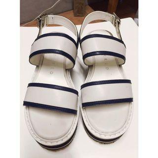條紋厚底涼鞋