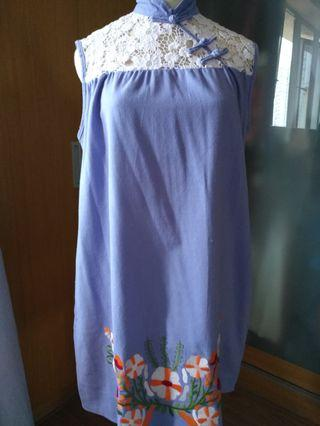 Chinese cotton embroidery purple dress