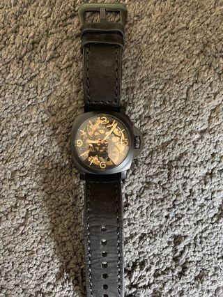 Parnis no logo mechanical winding skeleton watch 47mm