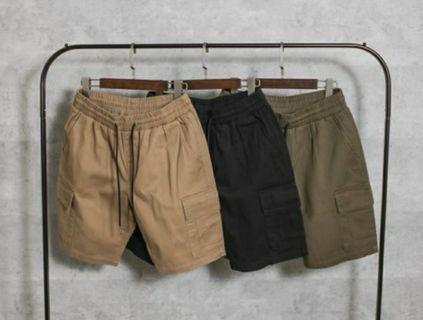 韓國製工裝短褲 軍綠