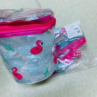 現貨透明可愛火烈鳥圓筒化妝包、萬用包、收納袋