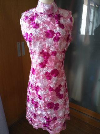 Pink foral lace Cheongsam inspired dress