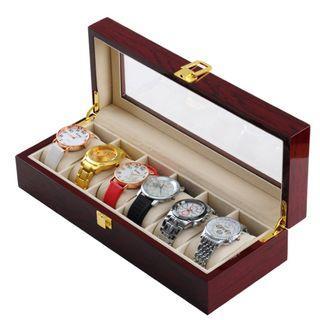 Starzdeals - 6 Slots Rose Wood Watch Storage Box