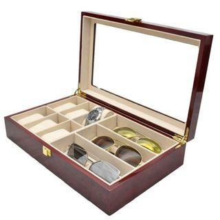 Starzdeals - 6 Slot Watch + 3 Specs Compartment Rose Wood Storage Box