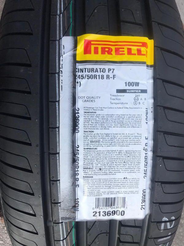 245/50R18 Pirelli P7 Cinturato Runflat