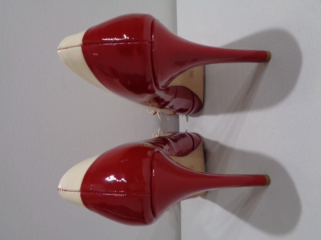 Alannah Hill Red/cream patent leather peeptoe pumps.