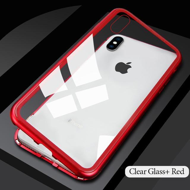 Apple Iphone 8 Plus X XS Max XR magnetic metal tempered glass back mobile phone case cover