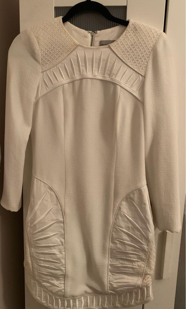 BLESSED ARE THE MEEK size 8 off white long sleeved dress
