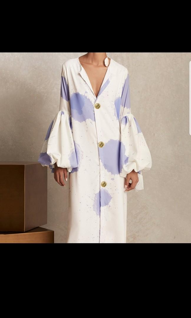 Flare sleeve button down maxi dress
