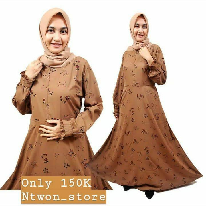 Gamis Dress Wolfis Brownie