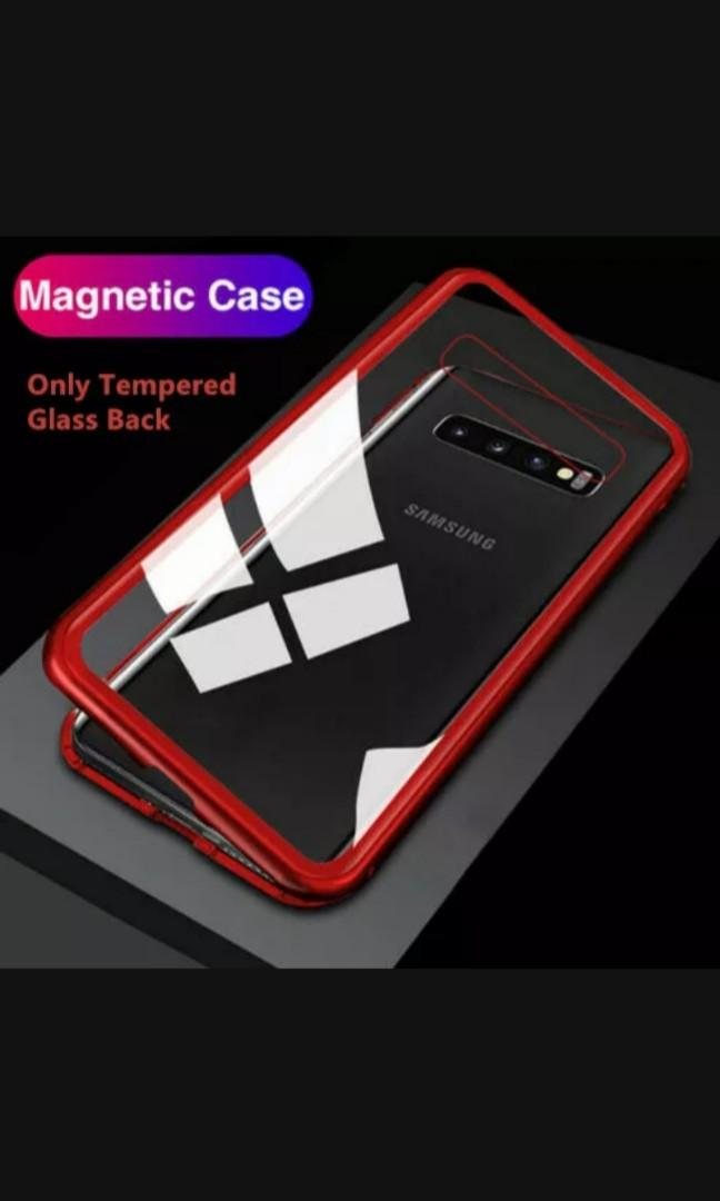 Magnetic Adsorption Samsung Galaxy S9 plus S10e S10 plus Note 8 9 glass back mobile phone case cover