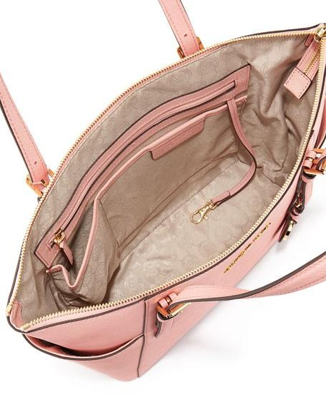 MICHAEL KORS Pink Jet Set Large Saffiano Leather Top-Zip Tote Bag