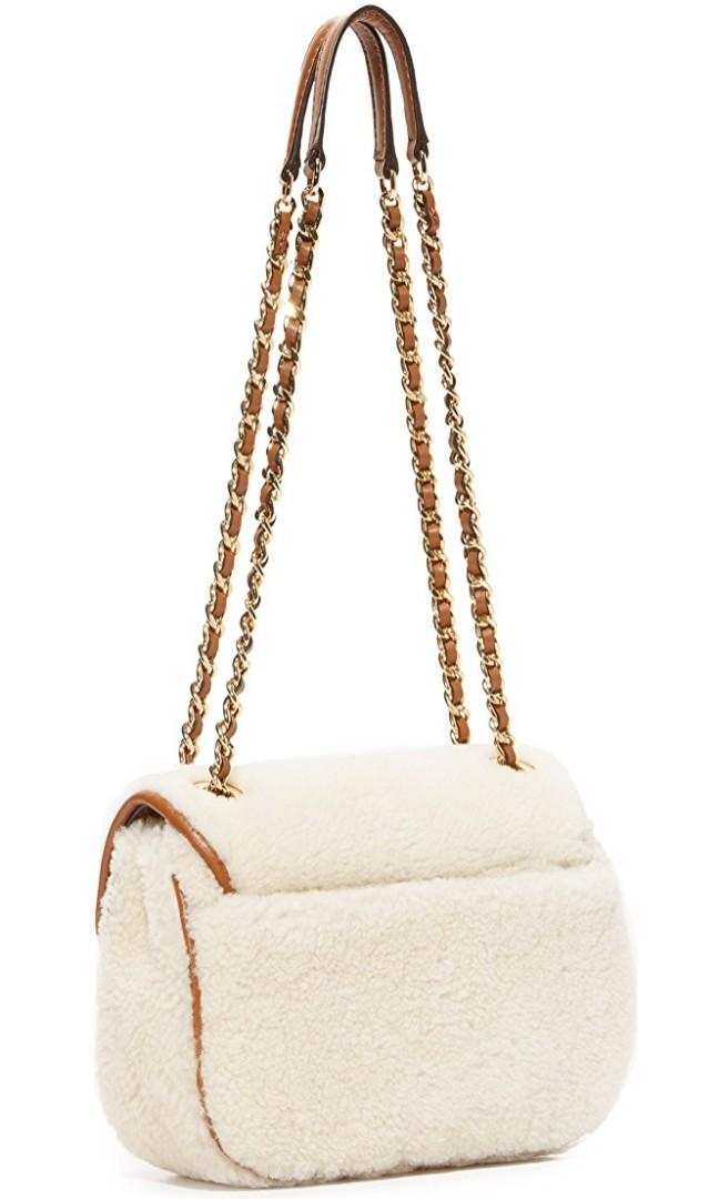 Michael Kors SLOAN SHEARLING  Natural Walnut Chain Shoulder Crossbody BAG