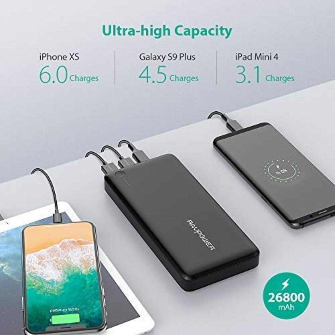 RAVPower USB C PD Power Bank 26800mAh 30W PD
