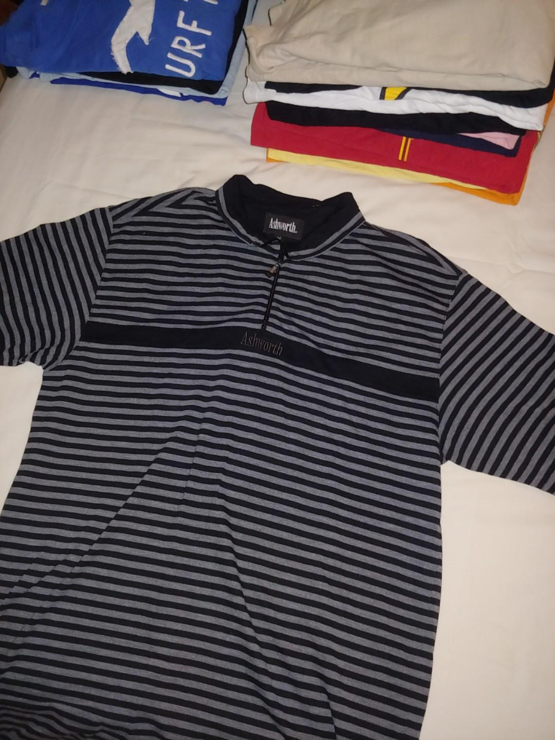 Ashworth Men's  Polo Shirt XL Extra Large Navy Blue And Black Striped