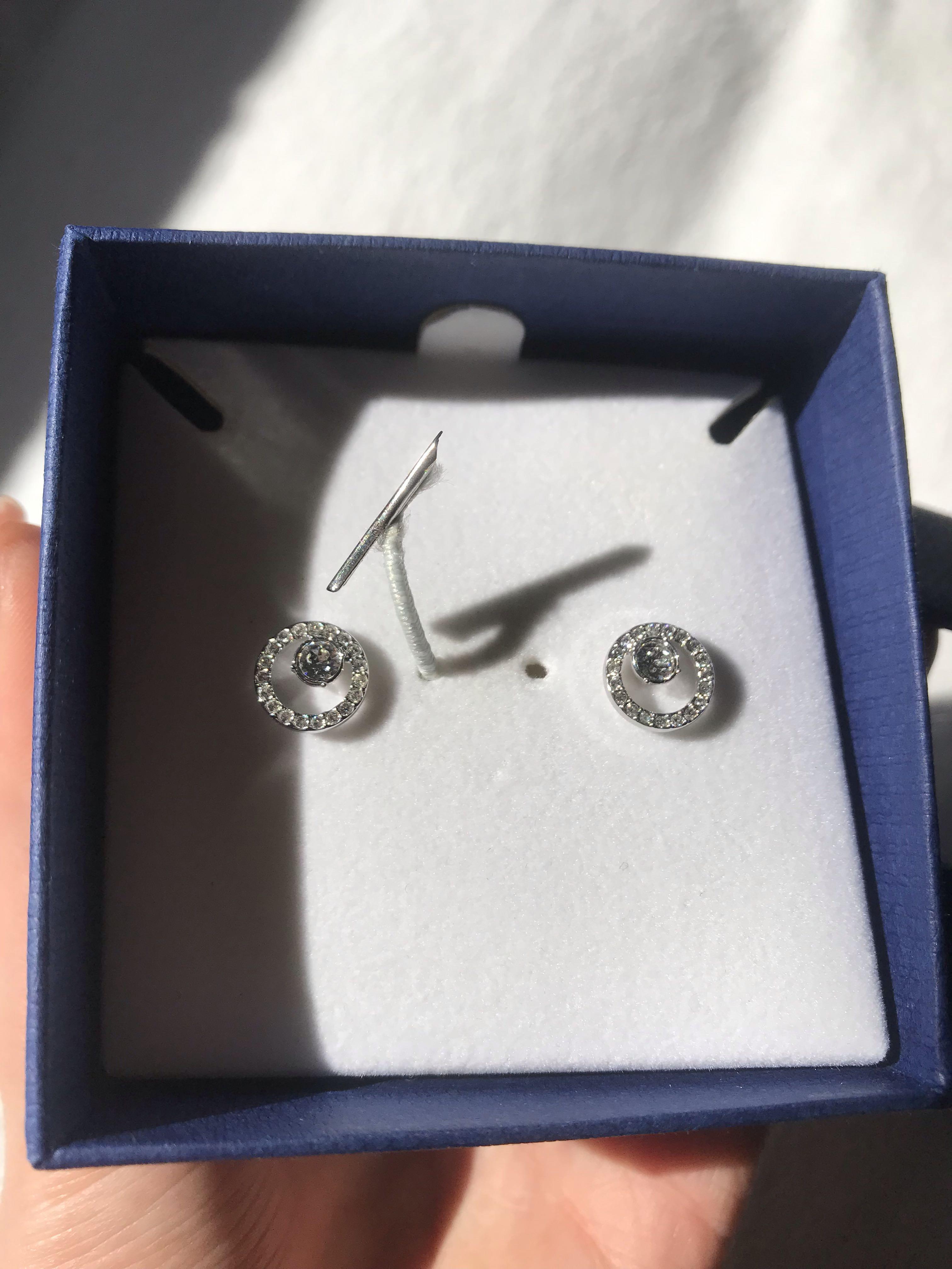 Swarovski CREATIVITY CIRCLE PIERCED silver studs earrings